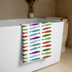 Sardines pattern towel for the bathroom or the beach