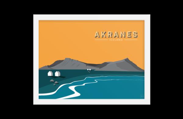 Akranes mountain framed poster