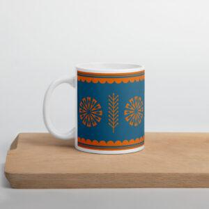 Scandinavian Retro Mug Blue with Orange star