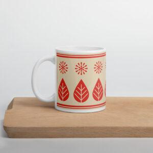 Scandinavian Retro Mug_Red star_Red leaf